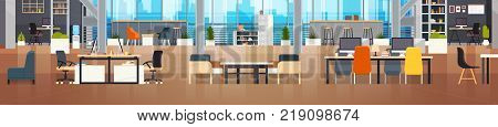 Coworking Office Interior Modern Coworking Center Creative Workplace Environment Horizontal Banner Flat Vector Illustration