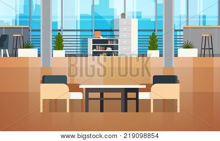 Empty Coworking Space Interior Modern Coworking Office Creative Workplace Space Flat Vector Illustration