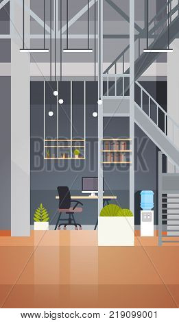 Coworking Office Interior Modern Coworking Center Creative Workplace Environment Vertical Banner Flat Vector Illustration