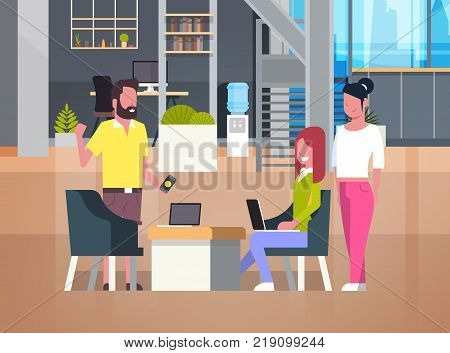 People Working In Coworking Office Casual Businesspeople Group In Coworkers Center Flat Vector Illustration
