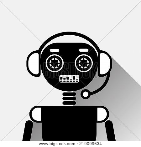 Chatbot Icon Concept Black Chat Bot Or Chatterbot Service Of Online Support Technology Vector Illustration