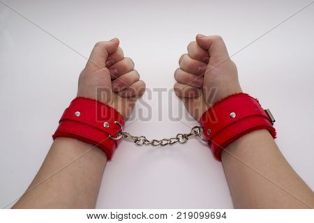 Female hands in leather handcuffs. Leather handcuffs on a gray background