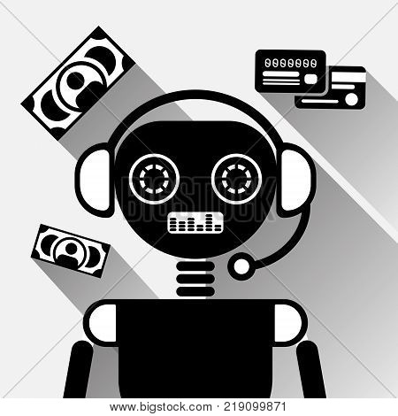 Chatbot Mobile Payment Service Icon Concept Black Chat Bot Or Chatterbot Online Support Technology Vector Illustration