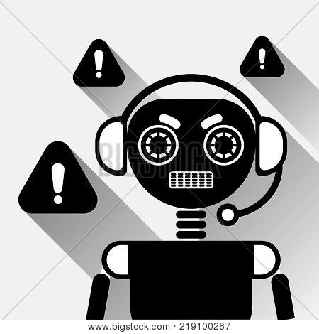 Chatbot Error Icon Concept Black Chat Bot Or Chatterbot Service Of Online Support Technology Vector Illustration