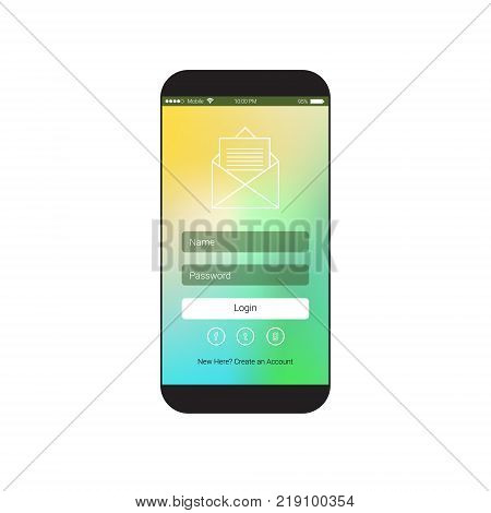 Web User Interface With Login Sign In Form On Cell Smart Phone Screen Flat Vector Illustration