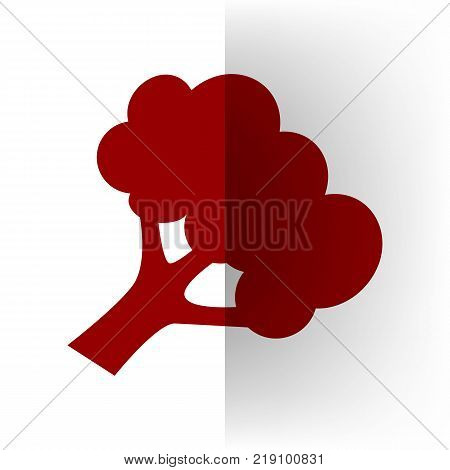 Broccoli branch sign. Vector. Bordo icon on white bending paper background.