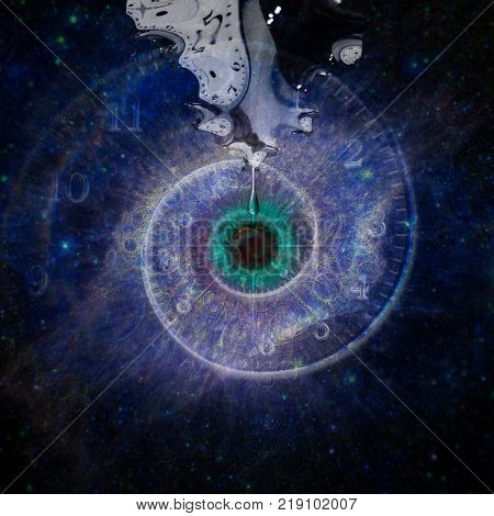 Black hole, galaxy in eye shape. Salvador Dali style. 3D rendering