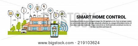 Hand Hold Smartphone With Smart Home Control System Application, Modern House Technology Of Automation Concept Horizontal Banner Vector Illustration