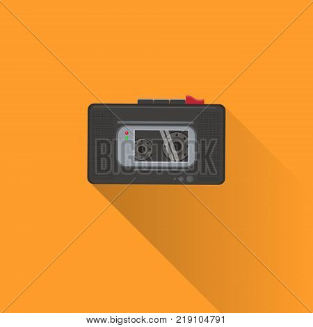 Dictaphone Or Tape Recorder Icon With Shadow On Orange Background Flat Vector Illustration