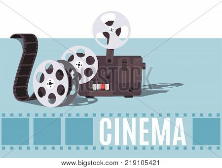 Old cinema projector with movie reel. Template for banner flyer or poster. Vector illustration