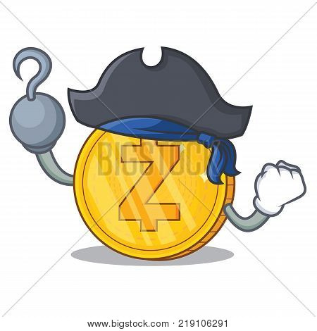 Pirate Zcash coin character cartoon vector illustration