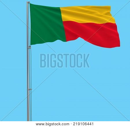 Isolate flag of Benin on a flagpole fluttering in the wind on a blue background 3d rendering