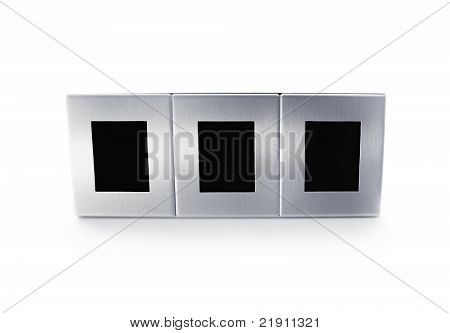 Metallic modern triplex picture frame isolated on white background poster