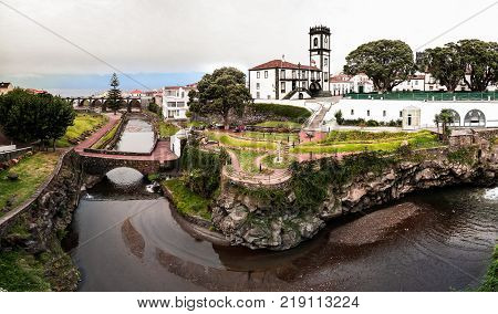 Panoramic cityscape view to Municipality and central square Of Ribeira Grande at Sao Miguel Azores Portugal