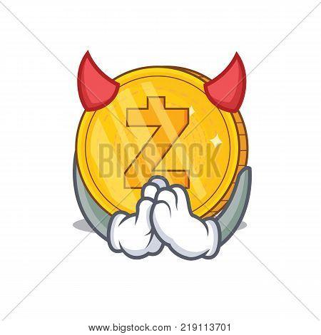 Devil Zcash coin character cartoon vector illustration