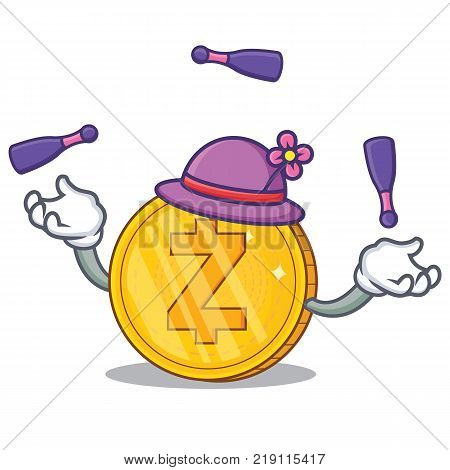 Juggling Zcash coin character cartoon vector illustration