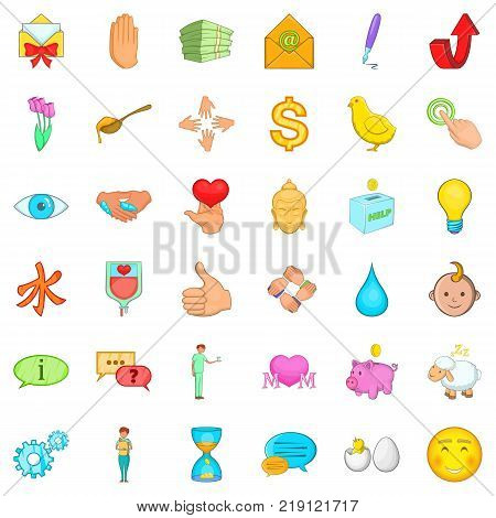 Kindness icons set. Cartoon style of 36 kindness vector icons for web isolated on white background