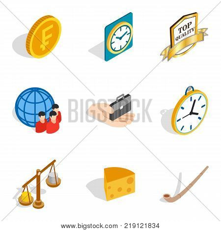 Compensation icons set. Isometric set of 9 compensation vector icons for web isolated on white background