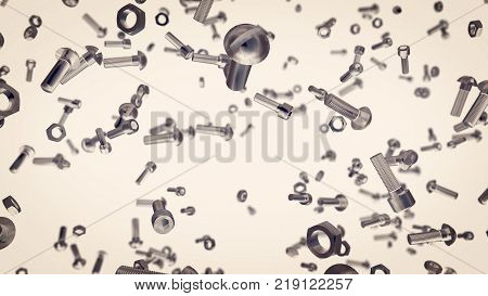 Flying Bolts, Nuts, Screws In Air