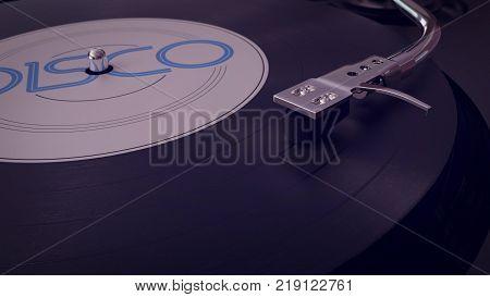 Vinyl Player Plays Vinyl Disc In Cartoon Style.