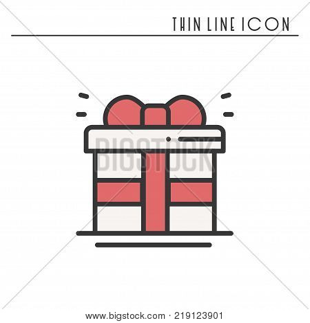 Gift box with ribbon icon. Present, giftbox. New Year celebration holidays decorated pictogram. Line Christmas element icon. Vector simple linear design. Logo llustration. Congratulation. Xmas winter