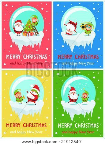 Postcard Merry Christmas and Happy New Year Santa and Elf decorating tree from ladder, dancing on head, play hide-and-seek, jump on vector illustration