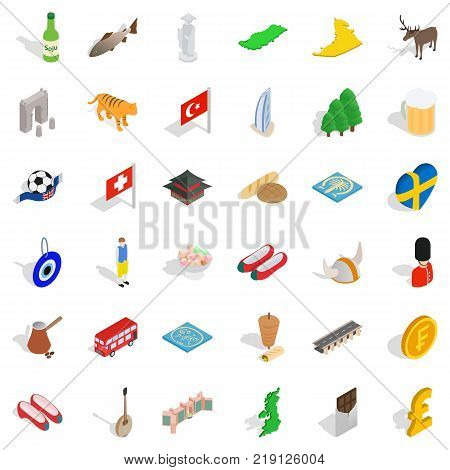Knight icons set. Isometric style of 36 knight vector icons for web isolated on white background