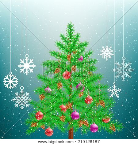 Christmas tree and hanging big snowflakes from sky on light blue background. Spruce fir with toys ribbons and cones in branches. Green needles celebration plant. New Year holiday pine fir-tree