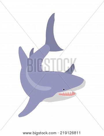 White shark cartoon character. Toothy shark with open mouth flat vector isolated on white. Aquatic fauna. Shark icon. Fish illustration for oceanarium ad, nature concept, children book illustrating