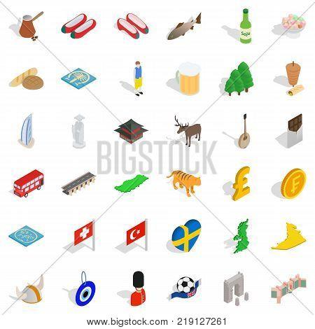 British flag icons set. Isometric style of 36 british flag vector icons for web isolated on white background