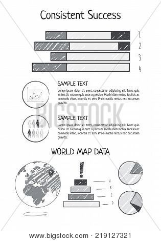 Consistent success visualization with world map data represented by bar and pie charts vector illustration isolated on white background