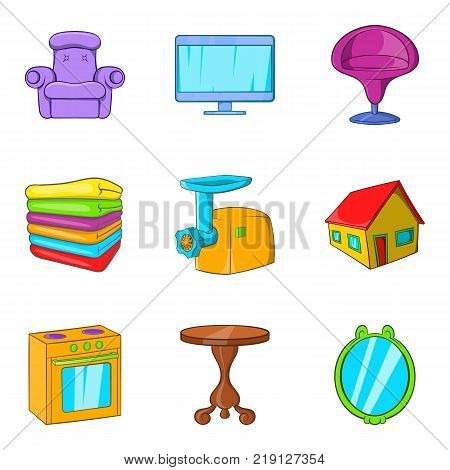 Sweet home icons set. Cartoon set of 9 sweet home vector icons for web isolated on white background