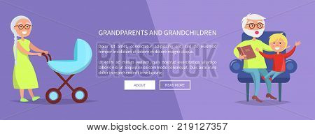 Grandparents and grandchildren poster with grandma carrying boy in pram and grandpa reading book to grandson vector web banner
