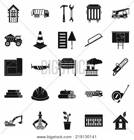 Sturdy house icons set. Simple set of 25 sturdy house vector icons for web isolated on white background poster