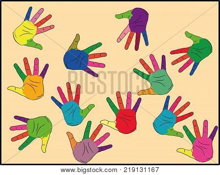 Painted in different colors, ready for your logo, text or symbols. The concept of diversity, meeting and socializing. symbols of autism. vector illustration.