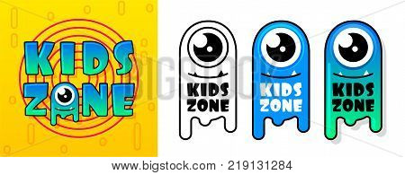 Kids Zone banner in cartoon style with a good jelly monster. for children's playroom decoration Children Playground. Vector illustration.