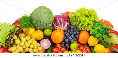 Big collection of fruits and vegetables isolated on white background. Top view.