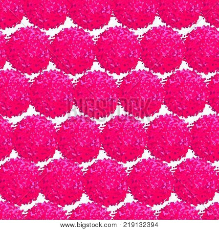 Vector seamless pattern with small furry flowers or pompoms in pink bright color can be used for web print wallpaper spring summer fashion fabric textile card background.