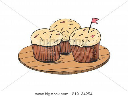 Delicious sweet cakes or tasty cupcakes lying on wooden plate isolated on white background. Appetizing baked dessert decorated with cream, sprinkles and tiny flag. Colorful vector illustration