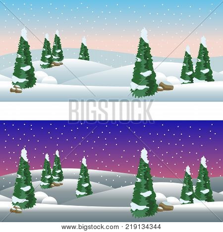 Set of cartoon winter village landscapes day and night. Snow conifer trees Christmas night. Horizontally seamless fits as background for cartoon or game asset. Vector illustration