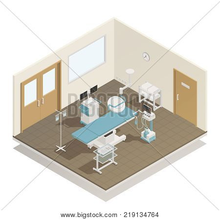 Hospital operation room surgical and examining table lights cooling infusion medical equipment supply  isometric view vector illustration