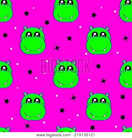 Cute Kids Hippo Pattern For Girls And Boys. Colorful Hippo, Stars On The Abstract Background Create