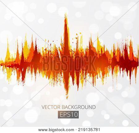 Abstract grunge background with amplitude modulation. Spectrum analyzer, music equalizer, sound wave. Vector illustration
