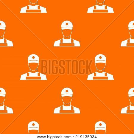 A man in a cap and uniform pattern repeat seamless in orange color for any design. Vector geometric illustration