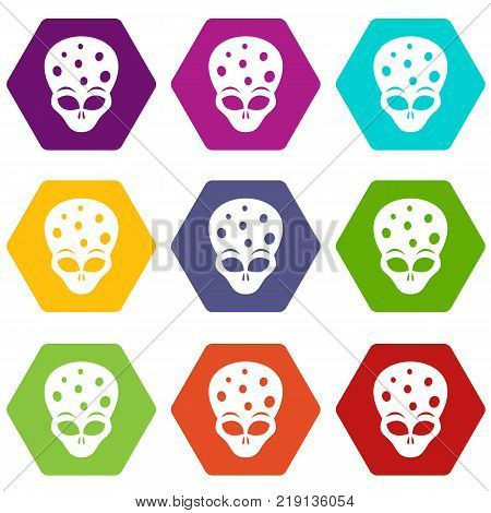 Extraterrestrial alien head icon set many color hexahedron isolated on white vector illustration