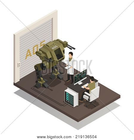 Fighting robots design concept with engineers in scientific lab interior involved in development of stormtrooper machine isometric vector illustration