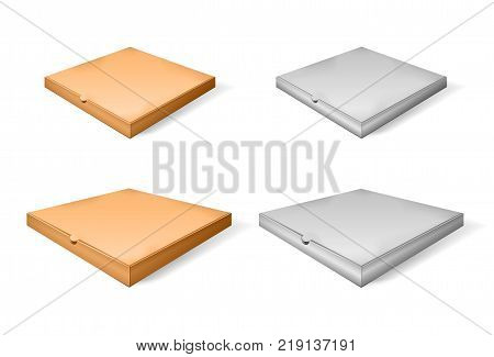 Set of brown cartoon and paper pizza box. Vector illustration of cardboard box. Realistic 3d closed isometric pizza isolated perspective view. EPS 10