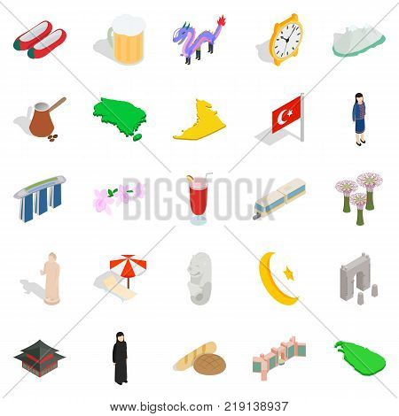 Muslim country icons set. Isometric set of 25 muslim country vector icons for web isolated on white background