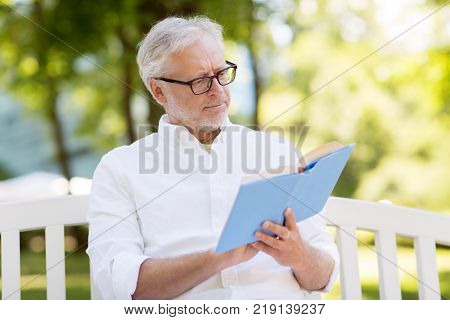 old age, retirement and people concept - senior man reading book sitting on bench at summer park