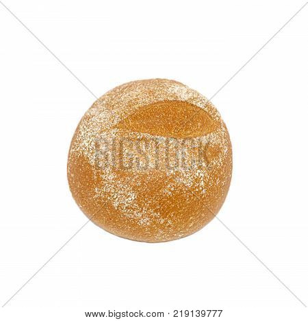 Appetizing baked brown rye bun floured with flour isolated on white background